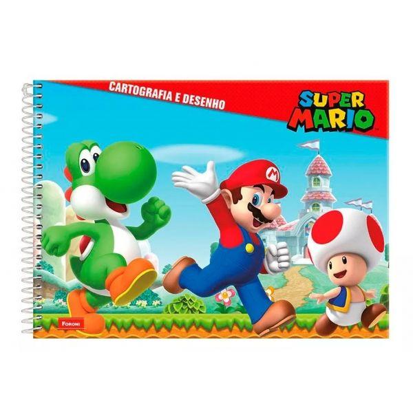 Caderno De Cartografia E Desenho Capa Dura Espiral Super Mario